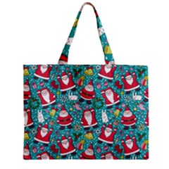 Cute Christmas Seamless Pattern Vector   Zipper Mini Tote Bag by Onesevenart