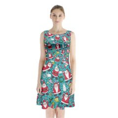 Cute Christmas Seamless Pattern Vector   Sleeveless Chiffon Waist Tie Dress by Onesevenart