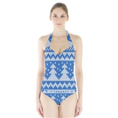 Knitted Fabric Christmas Pattern Vector Halter Swimsuit by Onesevenart