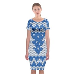 Knitted Fabric Christmas Pattern Vector Classic Short Sleeve Midi Dress by Onesevenart