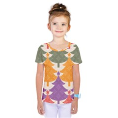 Tree Christmas Pattern Kids  One Piece Tee by Onesevenart