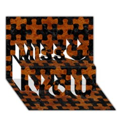 Puzzle1 Black Marble & Brown Marble Miss You 3d Greeting Card (7x5) by trendistuff
