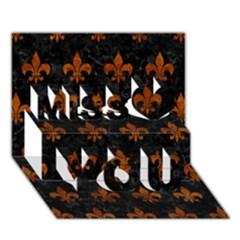 Royal1 Black Marble & Brown Marble (r) Miss You 3d Greeting Card (7x5) by trendistuff