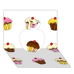Colorful Cupcakes  Apple 3d Greeting Card (7x5) by Valentinaart