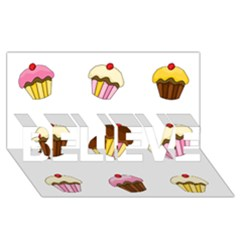 Colorful Cupcakes  Believe 3d Greeting Card (8x4) by Valentinaart