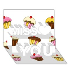 Colorful Cupcakes  Miss You 3d Greeting Card (7x5) by Valentinaart