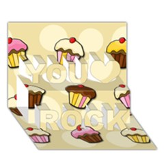 Colorful Cupcakes Pattern You Rock 3d Greeting Card (7x5) by Valentinaart