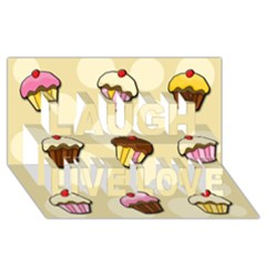 Colorful Cupcakes Pattern Laugh Live Love 3d Greeting Card (8x4) by Valentinaart
