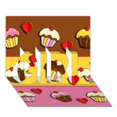 Love Cupcakes Girl 3d Greeting Card (7x5) by Valentinaart