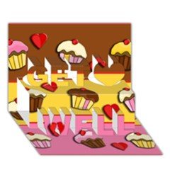 Love Cupcakes Get Well 3d Greeting Card (7x5) by Valentinaart
