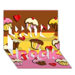 Love Cupcakes You Rock 3d Greeting Card (7x5) by Valentinaart