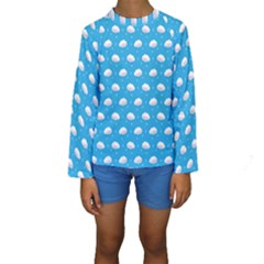 Seamless Fluffy Cloudy And Sky Kids  Long Sleeve Swimwear by AnjaniArt