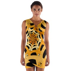 Spider Helloween Yellow Wrap Front Bodycon Dress by AnjaniArt