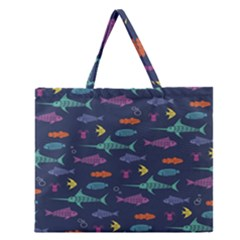 Twiddy Tropical Fish Pattern Zipper Large Tote Bag by AnjaniArt