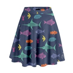Twiddy Tropical Fish Pattern High Waist Skirt by AnjaniArt
