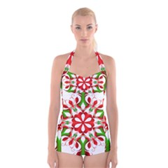 Red And Green Snowflake Boyleg Halter Swimsuit  by Zeze