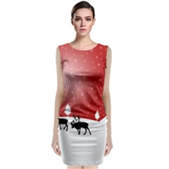 Reindeer In Snow Classic Sleeveless Midi Dress by Zeze