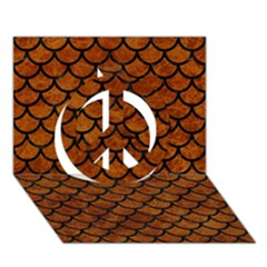 Scales1 Black Marble & Brown Marble (r) Peace Sign 3d Greeting Card (7x5) by trendistuff