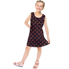 Scales3 Black Marble & Brown Marble Kids  Tunic Dress