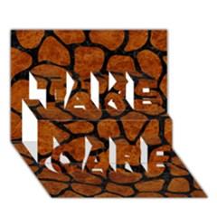 Skin1 Black Marble & Brown Marble Take Care 3d Greeting Card (7x5) by trendistuff