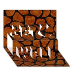 Skin1 Black Marble & Brown Marble Get Well 3d Greeting Card (7x5) by trendistuff