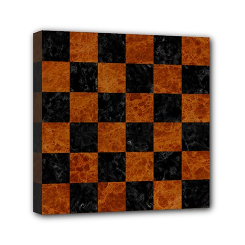 Square1 Black Marble & Brown Marble Mini Canvas 6  X 6  (stretched) by trendistuff