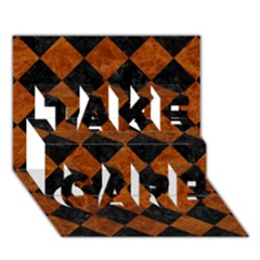 Square2 Black Marble & Brown Marble Take Care 3d Greeting Card (7x5) by trendistuff