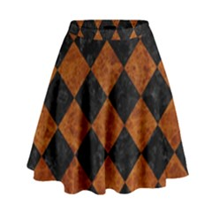 Square2 Black Marble & Brown Marble High Waist Skirt by trendistuff