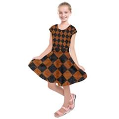 SQR2 BK-BR MARBLE Kids  Short Sleeve Dress by trendistuff
