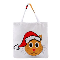 Cat Christmas Cartoon Clip Art Grocery Tote Bag by Onesevenart
