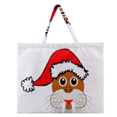 Child Of Artemis Christmas Animal Clipart Zipper Large Tote Bag by Onesevenart