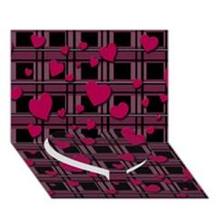 Harts Pattern Heart Bottom 3d Greeting Card (7x5) by Valentinaart