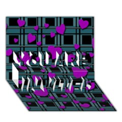 Purple Love You Are Invited 3d Greeting Card (7x5) by Valentinaart