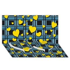 Love Design Twin Heart Bottom 3d Greeting Card (8x4) by Valentinaart