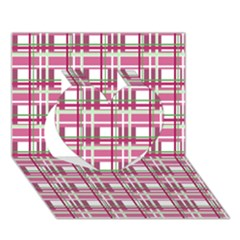 Pink Plaid Pattern Heart 3d Greeting Card (7x5) by Valentinaart