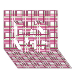 Pink Plaid Pattern Love 3d Greeting Card (7x5) by Valentinaart