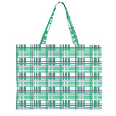Green Plaid Pattern Zipper Large Tote Bag by Valentinaart