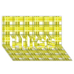 Yellow plaid pattern HUGS 3D Greeting Card (8x4) by Valentinaart