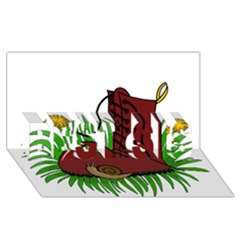 Boot In The Grass Best Sis 3d Greeting Card (8x4) by Valentinaart