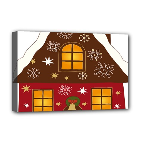 Christmas House Clipart Deluxe Canvas 18  X 12   by Onesevenart