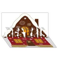 Christmas House Clipart Best Sis 3d Greeting Card (8x4) by Onesevenart