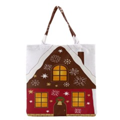Christmas House Clipart Grocery Tote Bag by Onesevenart