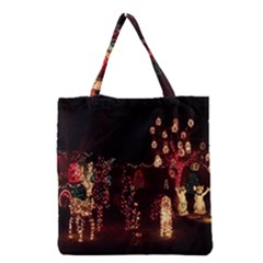 Holiday Lights Christmas Yard Decorations Grocery Tote Bag by Onesevenart