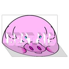 Pink Pig Christmas Xmas Stuffed Animal Best Sis 3d Greeting Card (8x4) by Onesevenart