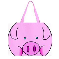 Pink Pig Christmas Xmas Stuffed Animal Large Tote Bag by Onesevenart