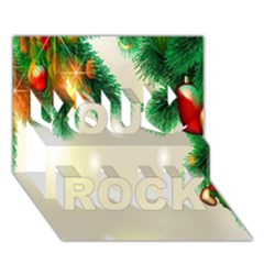 Ornament Christmast Pattern You Rock 3d Greeting Card (7x5) by Onesevenart