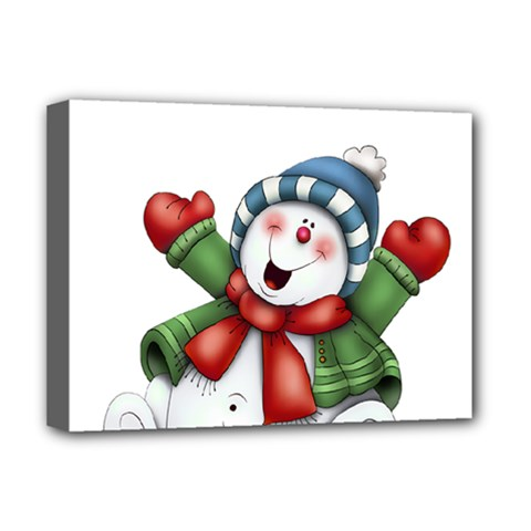 Snowman With Scarf Deluxe Canvas 16  X 12   by Onesevenart