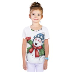 Snowman With Scarf Kids  One Piece Tee by Onesevenart