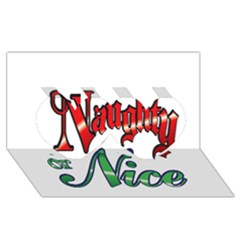 Vintage Christmas Naughty Or Nice Twin Hearts 3d Greeting Card (8x4) by Onesevenart