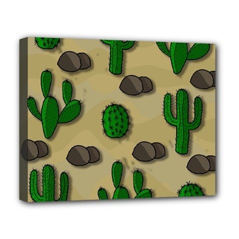 Cactuses Deluxe Canvas 20  X 16   by Valentinaart